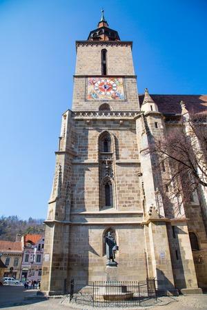 brasov: Brasov, Romania - March 24, 2015: Gothic building of the Black Church, Biserica Neagra in Brasov, Transylvania, Romania