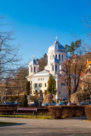 ortodox: Brasov, Romania - March 25, 2015: Central park Ortodox Church in Brasov, Transylvania, Romania