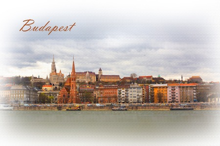 fishermen's: Textured Postcard or poster with Buda side view of Budapest with St. Matthias and Fishermens Bastion from Danube river