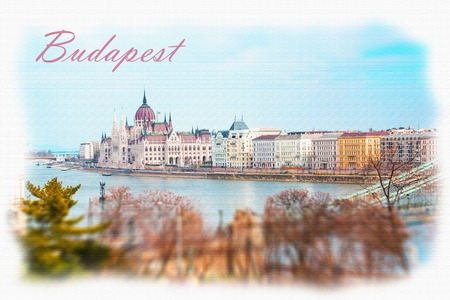 the chain bridge: Textured Postcard or poster with Hungarian Parliament, Danube river, part of Chain bridge and city buildings from Buda Hill, Budapest, Hungary