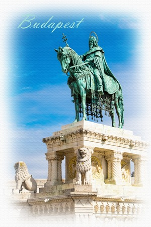fishermens: Textured Postcard or poster with Horse riding statue of Stephen I of Hungary, Fishermens Bastion, Budapest, Hungary