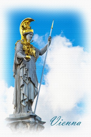 pallas: Textured Postcard or poster with Statue and fountain of Pallas Athena Brunnen, greek goddess of wisdom, in golden helmet near Parliament building in Vienna, Austria against the blue cloudy sky background with copyspace