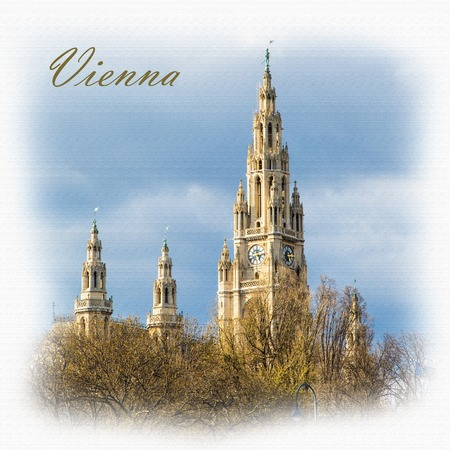 cityhall: Textured Postcard or poster with Vienna Town Hall,  Wiener Rathaus, Austria against the cloudy sunny sky