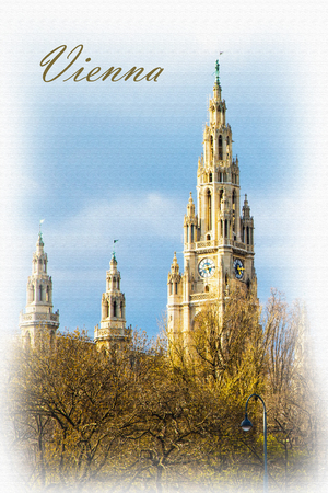 cityhall: Textured vertical Postcard or poster with Vienna Town Hall,  Wiener Rathaus, Austria against the cloudy sunny sky
