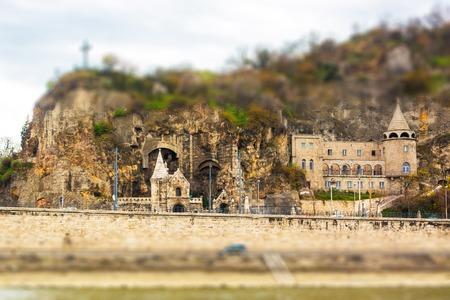 tilt and shift: Cave Church in Budapest, church in the rock. tilt shift effect