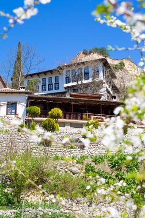 revival: Melnik, Bulgaria - April 15, 2015:  Traditional stone-built house  from the Revival period in Melnik town, Bulgaria