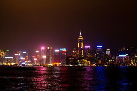 hongkong: Hong Kong, China - January, 9, 2014: River and illuminated skyscrapers view at the night time