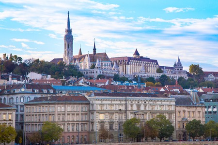 matthias: Panorama of Buda part of Budapest with St. Matthias Church and Fisherman Bastion against blue cloudy evening sky