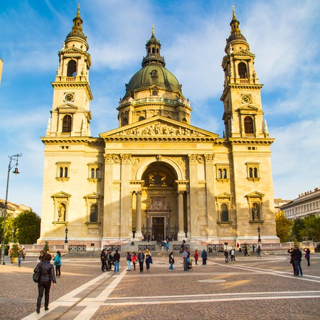saint stephen cathedral: Budapest, Hungary - November, 7, 2014: Landmark of Budapest St. Stephens Basilica in Budapest, Hungary and people near it Editorial