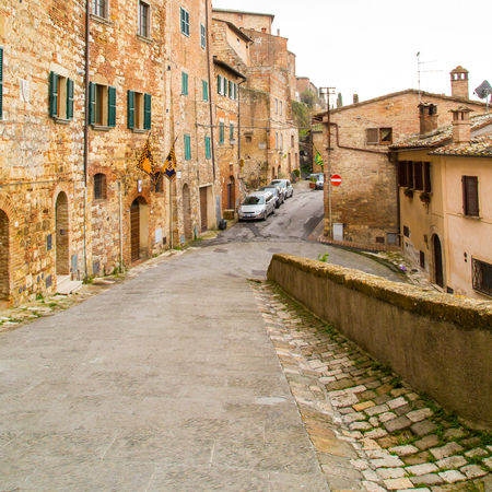 montepulciano: Montepulciano, Italy - November, 15, 2014: Tuscany, street view of medival town Montepulciano at Tuscany,  Italy