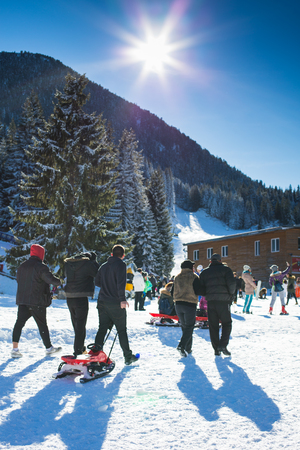 ski walking: Bansko, Bulgaria - December, 12, 2015: Vibrant image of ski resort Bansko, Bulgaria, bright sun and mountain with pine trees, people walking with sledge Editorial