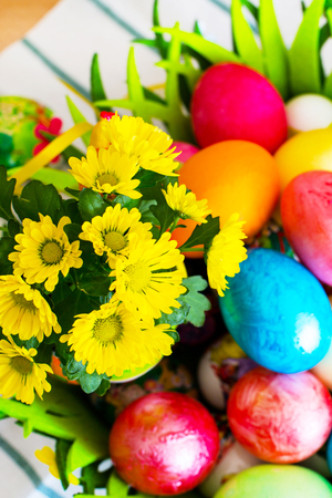 colorful still life: Vibrant color holiday background. Still life with nice spring yellow flowers and colorful Easter eggs