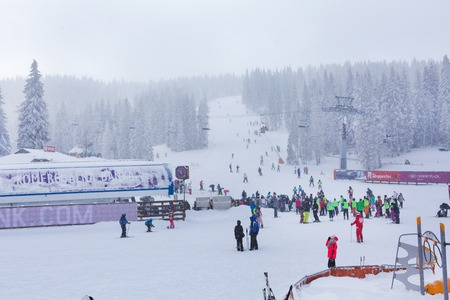 ski walking: Kopaonik, Serbia - January 18, 2016: Panorama of ski resort Kopaonik during snowfall, people, skiers near ski lift, snowy trees at winter time