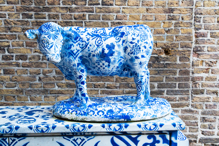delft: Holland Blue Delft Porcelain cow sculpture in Delft, Netherlands