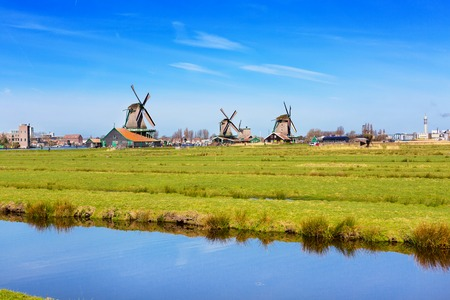 zaandam: Panoramic view of windmills in Zaanse Schans, traditional village in Holland, reflection in lake, blue sky, copy space