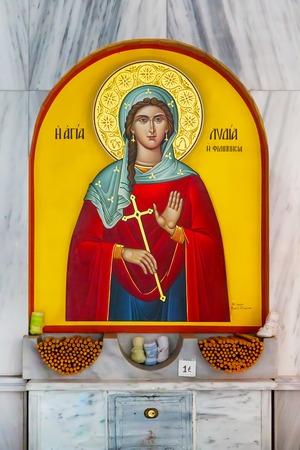 apostle paul: Interior of greek St. Lydia first European Christian, baptistry church in Lydia, Philippi, Greece