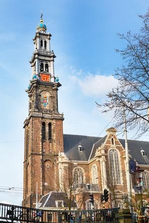 rembrandt: Amsterdam, Netherlands - April 1, 2016: Westerkerk or Western Church tower in Amsterdam, Holland, Netherlands. Rembrandt is buried here.