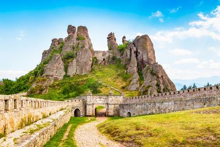 bulwark: Vibrant image of Belogradchik cliff rocks and wall at ancient Kaleto fortress, Bulgaria