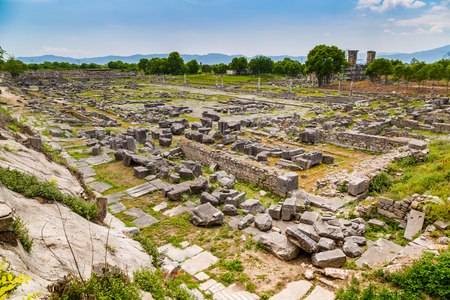 past civilizations: Ancient city of ruins, province of Lydia, Philippi, Greece Stock Photo