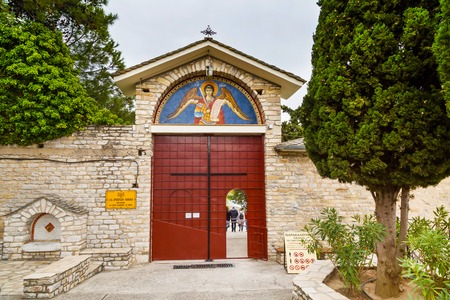 thassos: Thassos, Greece - May 2, 2016: Entrance of the Monastery of Archangel Michael, Thassos island, Greece Editorial