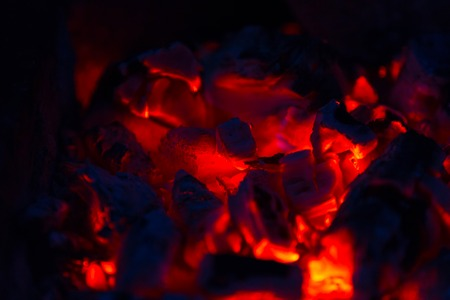 coals: Red coals of the campfire in the dark night closeup Stock Photo