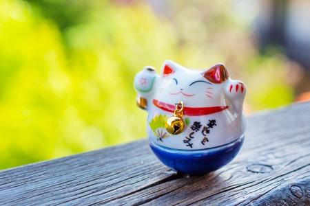 maneki neko: Maneki Neko - Lucky Cat in blue color - for study and career