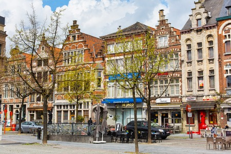 benelux: Ghent, Belgium - April 12, 2016: Old colorful traditional houses in downtown of popular belgian touristic destination Ghent Editorial