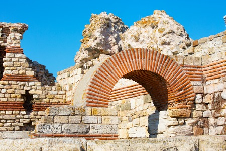 demolished: Ruins of the ancient fortress wall around the town of Nesebar in Bulgaria