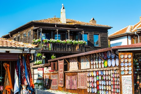Nessebar, Bulgaria - July 25, 2016: Souvenir shops in old town Nessebar or Nesebar in Bulgaria, Black sea