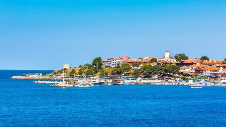 Old town panorama, sea, boats in Nessebar or Nesebar in Bulgaria, Black sea Standard-Bild