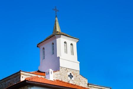 church tower: Church tower in old town Nessebar or Nesebar in Bulgaria, Black sea