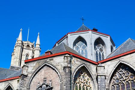 St Bavos Cathedral partial view in popular touristic destination Ghent, Belgium