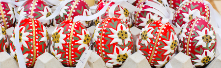 eastertime: colorful painted Easter eggs panoramic image, Easter time background Stock Photo