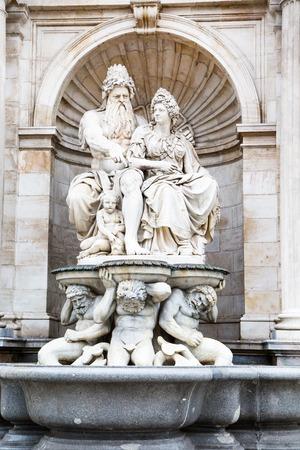 innere: Statue at the facade in Hofburg, Innerer Burghof, Vienna, Austria Stock Photo