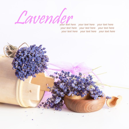 aroma bowl: Making aroma bags, bunch of dry wild mountain lavender flowers and wooden bowl