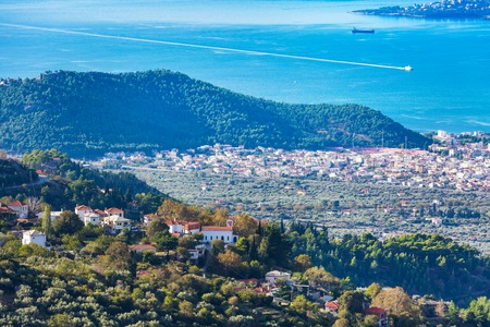 magnesia: Volos city and mauntain village aerial view from Pelion mount, Greece Stock Photo