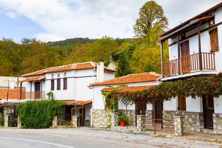 thessaly: Street view at Portaria, village in Pelion, Thessaly, Greece Stock Photo