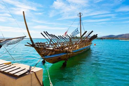 legendary: Argo legendary ship copy in port Volos, Greece. Greek mythology Argonauts sailed Argo to retrieve the Golden Fleece