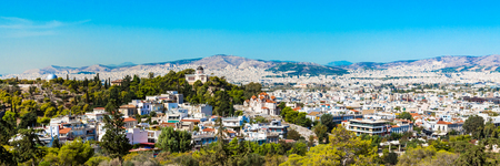 nymphs: Athens skyline with Hill of the Nymphs, and the church of Agia Marina National Observatory