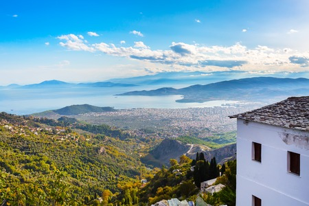 Volos city and sea gulf aerial view from Pelion mount, Greece Stock Photo