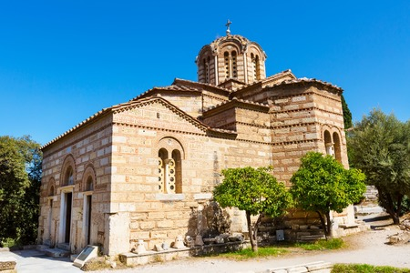 apostles: The byzantine church of the Holy Apostles of Solaki in the Ancient Agora of Athens, Greece Stock Photo