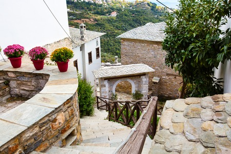 Street view at Makrinitsa village in Pelion mountain, Greece