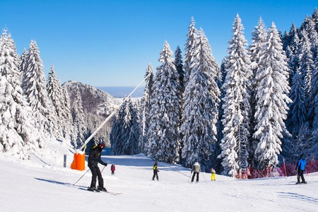 Kopaonik, Serbia - January 19, 2016: Panorama of ski resort Kopaonik, slope, people, mountain view at winter time Editorial