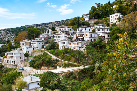 Aerial street and houses view at Makrinitsa village of Pelion, Greece