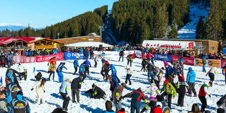 hunter's cabin: Bansko, Bulgaria - December 12, 2015: Bunderishka polyana, people participating in game Treasure hunters during ski season open