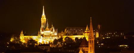 Night view panorama of Buda part of Budapest with St. Matthias Church and Fisherman Bastion Stock Photo