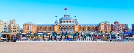 Scheveningen, Netherlands - April 7, 2016: Famous Grand Hotel Amrath Kurhaus View at Scheveningen beach near Hague, Holland, Netherlands Editorial