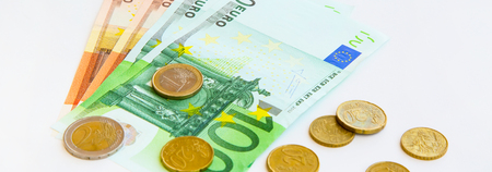 Euro coins and banknotes. Business concept, financial background banner