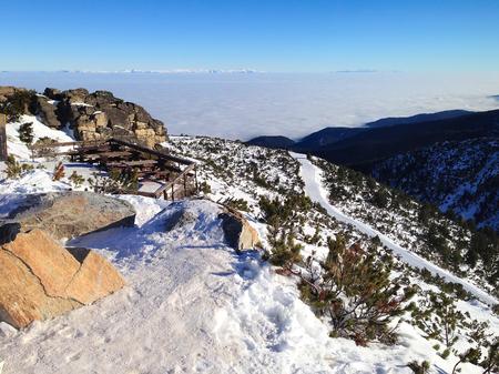 ski slopes: Panorama of winter mountains, ski slopes in bulgarian alpine ski resort Borovets