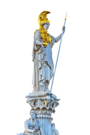 Statue of Pallas Athena in golden helmet, Vienna, Austria isolated on white background